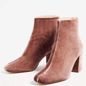 Zara Pink Velvet Boots - 38